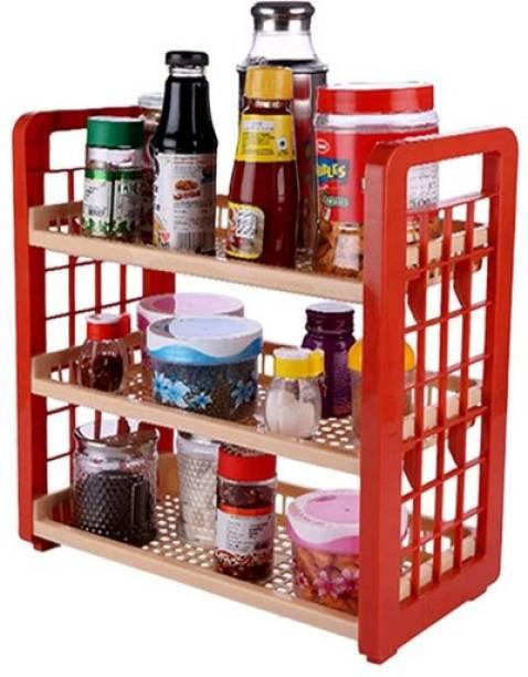 SAURA Multipurpose 3 Tier Organizer Rack - Storage and Organizing - Derby Brown and Beige- 1 Piece/ Cutlery Kitchen Rack
