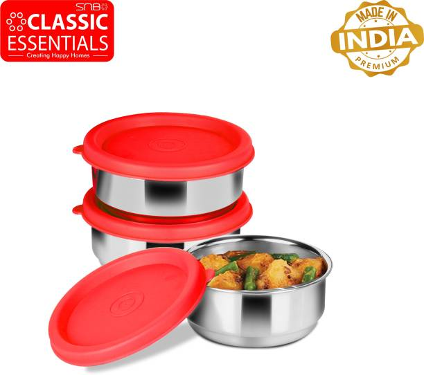 Classic Essentials Leak Proof Container Set of 3, Diameter 12cm, 350 ml Each, 3 Containers Lunch Box