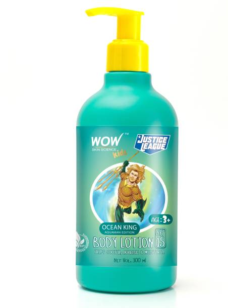 WOW SKIN SCIENCE Kids Body Lotion - SPF 15 - Ocean King Aquaman Edition - No Parabens, Color, Mineral Oil, Silicones & PEG - 300mL