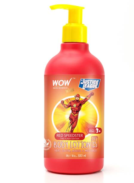 WOW SKIN SCIENCE Kids Body Lotion - SPF 15 - Red Speedster Flash Edition - No Parabens, Color, Mineral Oil, Silicones & PEG - 300mL