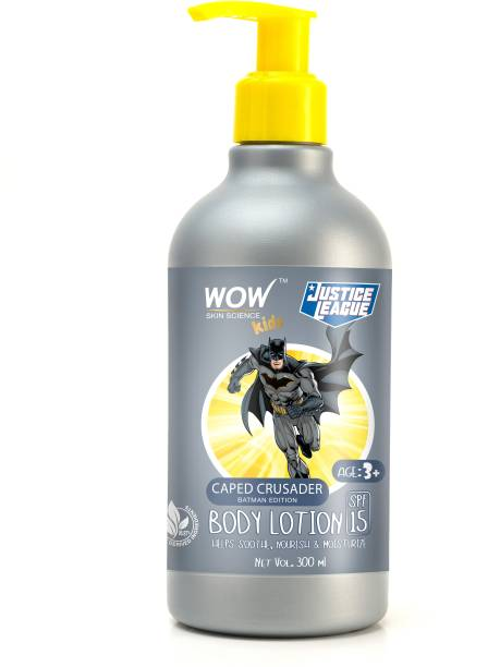 WOW SKIN SCIENCE Kids Body Lotion - SPF 15 - Caped Crusader Batman Edition - No Parabens, Color, Mineral Oil, Silicones & PEG - 300mL