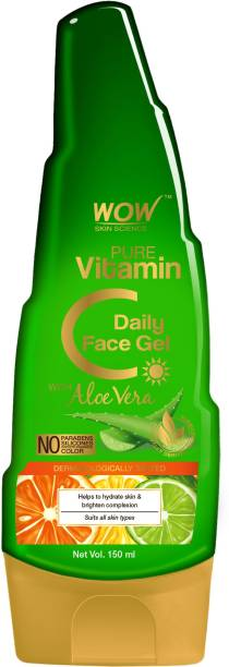 WOW SKIN SCIENCE Pure Vitamin C Daily Face Gel with Aloe Vera - For Hydrating Skin & Brightening - Non Sticky - Light & Quick Absorbing - No Parabens, Silicones, Synthetic Fragrance & Color - 150mL