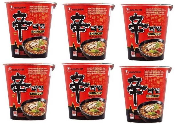 Nongshim Shin Ramyun Cup Noodles 68gm (Pack of 6) (Imported) Cup Noodles Non-vegetarian