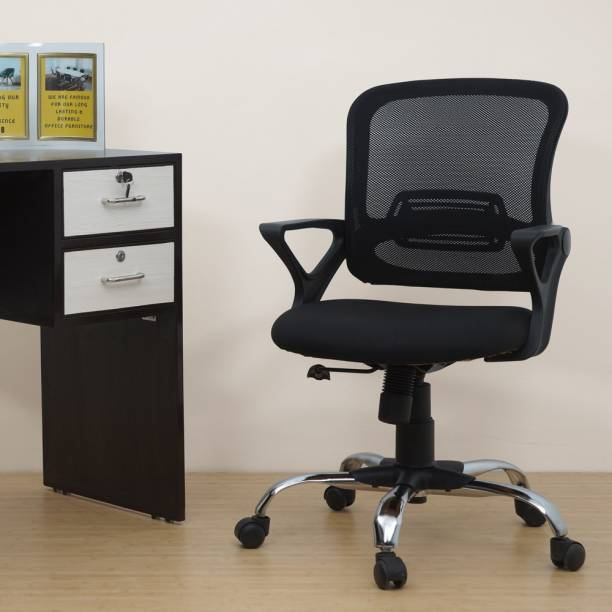 Rastogi Office Revolving Ergonomic Mesh Chair with Heavy base and good Lumbar Support(Black) Fabric Office Executive Chair