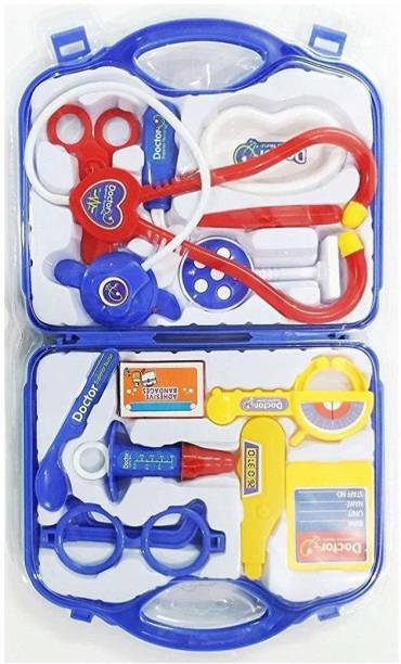 BVM GROUP Doctor Plastic Playset Kit with Foldable Suitcase, Compact Medical Accessories Toy Set Pretend Play Kit for kids,indoor game (Random Selection)