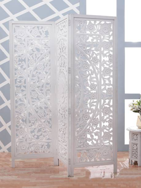Artesia The Antique 3 Panel Room Partition (White) Solid Wood Decorative Screen Partition
