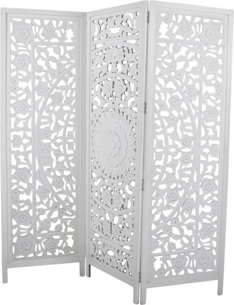 Decorhand The Antique 3 Panel Room Partition (White) Solid Wood Decorative Screen Partition