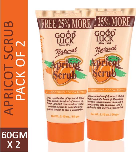 Goodluck Natural Apricot Scrub Leaves your Skin Fresh and Alive (Pack of 2) Scrub