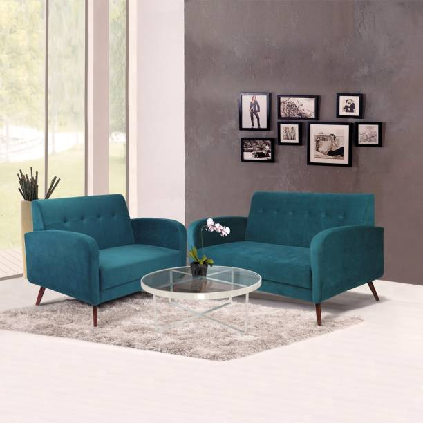 ARRA Rome Tuffed Back Five Seater Fabric 3 + 2 Green Sofa Set