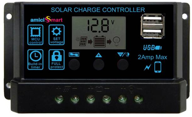 amiciSmart Solar Charger Controller 10A, Intelligent Battery Regulator for Solar Panel LCD Display with USB Port 12V/24V PWM Solar Charge Controller