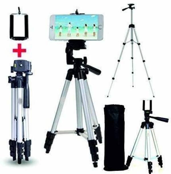 Powerpak Aluminum Alloy Tripod Stand with Mobile Holder for Smartphone and Camera | Max Height 1020mm | Payload 2kg (3110) Tripod