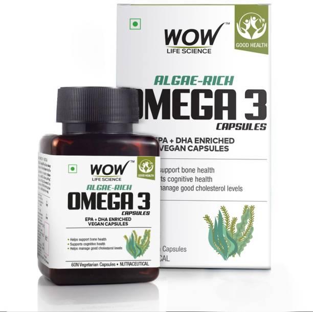 WOW Life Science Algae-Rich Omega 3 Capsules - EPA + DHA Enriched Vegan Capsules - 60 Veg Capsules