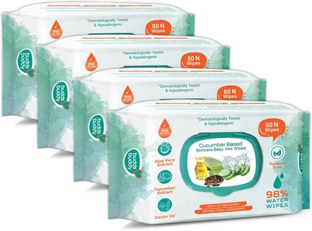 Buddsbuddy Cucumber Based Skincare Baby Wet Wipes with lid