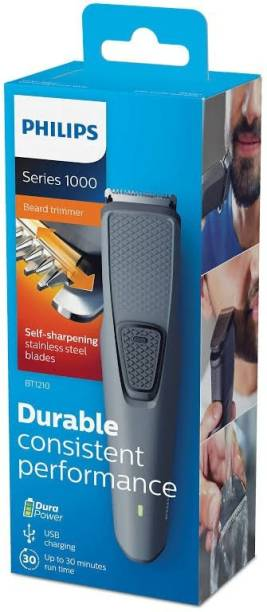 PHILIPS Best Cordless Beard trimmer BT-1210 for man  Runtime: 30 min Trimmer for Men