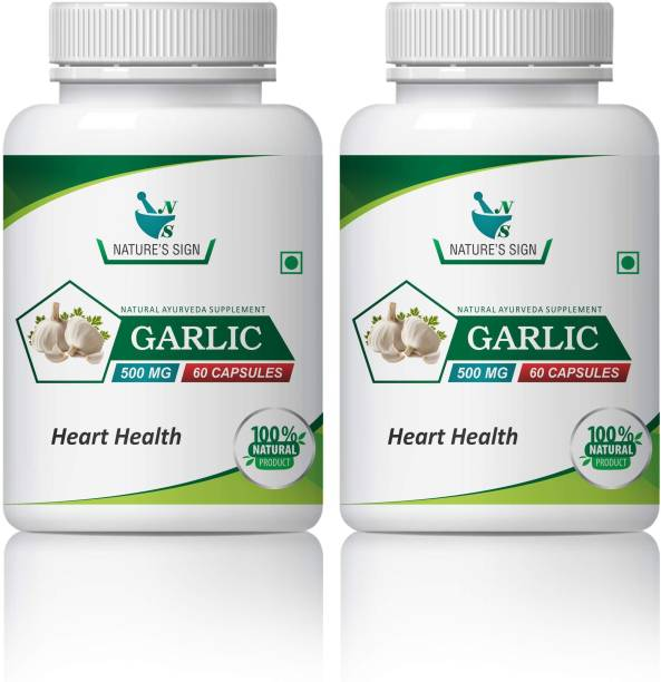 nature's sign Garlic Heart Health, 60 Capsules 500mg (Pack of 2)