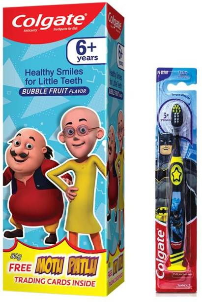 Colgate Kids Batman, Extra Soft with Tongue Cleaner & Kids Gentle Protection for 6+ Years, Motu Patlu, Bubble Fruit Flavour