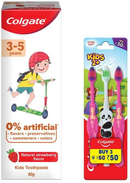 Colgate Kids (2+years) Gentle Soft & Kids (3-5 years), Natural Strawberry Flavour, 0% Artificial