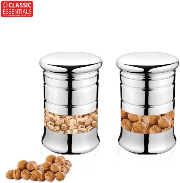 Classic Essentials Classic Essentials Elegant Canister set of 2  - 300 ml Steel Cookie Jar