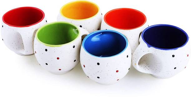 RHYTHM GIFT4U Pack of 1 Ceramic GIFT4U Pack of 1 Ceramic White Dot Tea Cup Set / Cup Set/ Tea Cups / Coffee Mug 6 Pcs / 6 Pcs Tea Cup Set/ Tea Cup Set