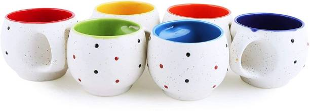 B2R Pack of 6 Ceramic, Bone China Stylish Ceramic Handcrafted White Pari Dot Printed Microwave Safe Tea Cup/Coffee Cup Set Ideal Best Gift for Friends, Family, Home, Office use, Kitchen Cup Set (Set of 6, 130 ML)