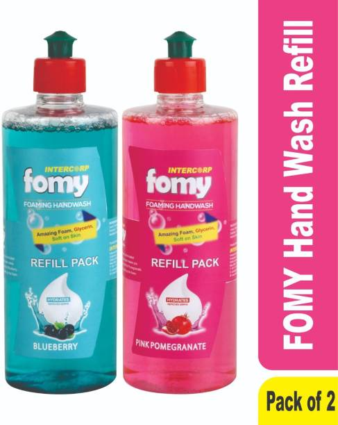 Intercorp Fomy FOMY Foaming Hand Wash, Blueberry - 500 ml Refill and Pink Pomegrante - 500 ml Refill Hand Wash Bottle