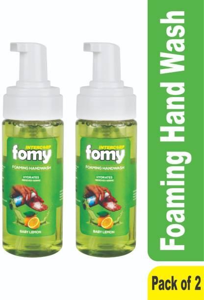 Intercorp Fomy Antibacterial Soft Refreshing Foam Hand Wash, 160ml Each (Lemon) - Pack of 2 Hand Wash Pump Dispenser