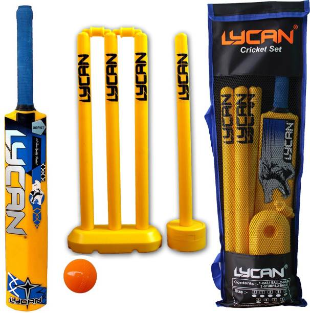 LYCAN Plastic Cricket Kit Juniors Size 3 For Age Group 8 Years Kids Cricket Kit Cricket Kit