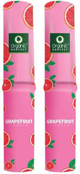 Organic Harvest Grapefruit Flavour Lip Balm Enriched With Vitamin E & Benefits Of Mango Butter, For Dark Lips to Lighten, Lip Care for Dry & Chapped Lips, 100% Organic, Paraben & Sulphate Free For Girls & Women Grape fruit