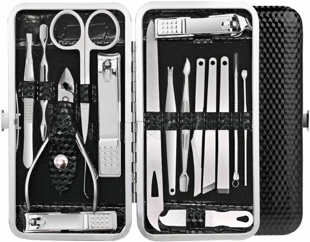Miss Hot Manicure Pedicure 16 Tools Set Nail Clippers Stainless Steel Professional Nail Scissors Grooming Kits, Nail Tools with Leather Case