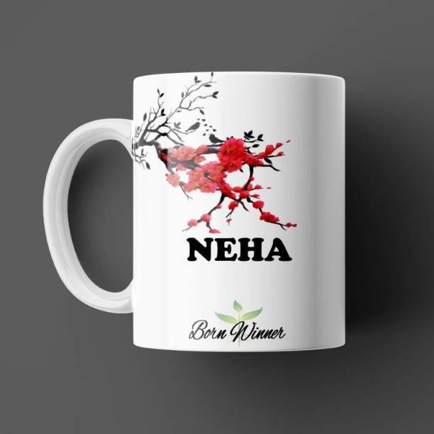 Beautum BORN WINNER Neha Name Printed White Ceramic (350)ml Model NO: BRNWIN14348 Ceramic Coffee Mug