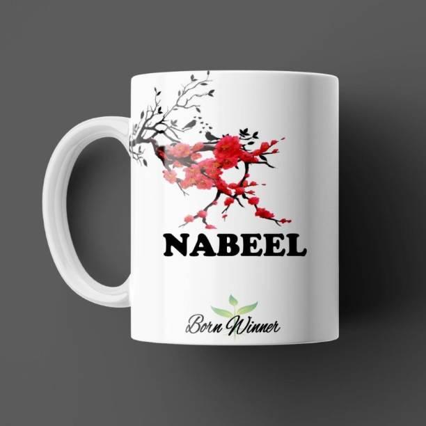 Beautum BORN WINNER Nabeel Name Printed Ceramic (350)ml Model NO: BRNWIN13556 Ceramic Coffee Mug