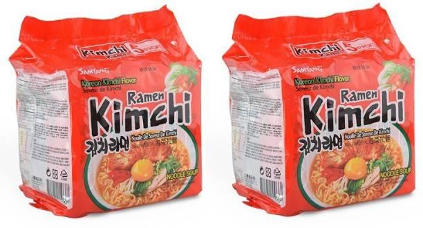 Nongshim Kimchi Ramyun Instant Noodles 600gm(120gm*5) (Pack of 2) (Imported) Instant Noodles Vegetarian