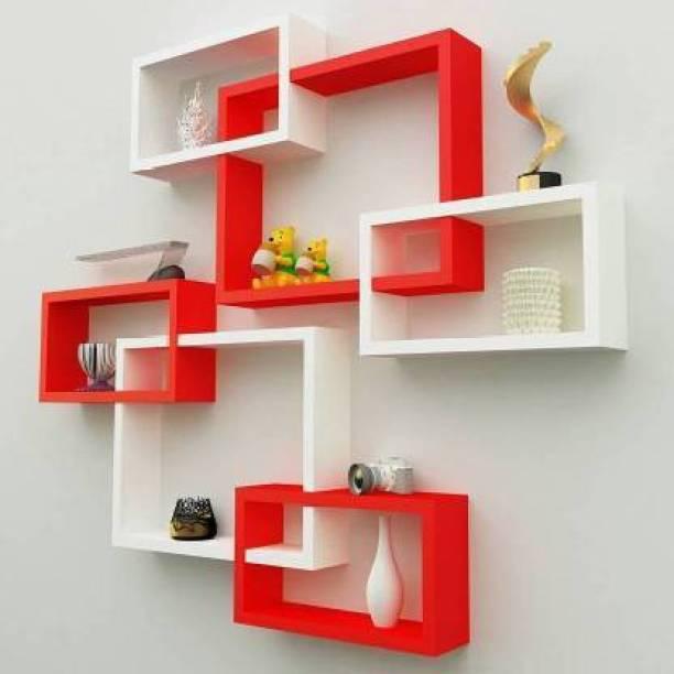 Woodykart Latest intersecting wooden wall shelves White and Red MDF (Medium Density Fiber) Wall Shelf