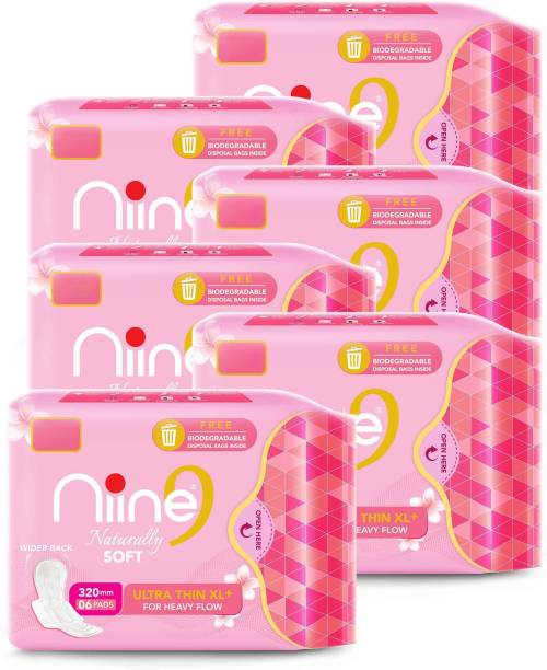 niine Naturally Soft Ultra Thin XL+, Sanitary Napkins with Free Biodegradable Disposal Bags Inside (Pack of 6), 36 Pads Sanitary Pad