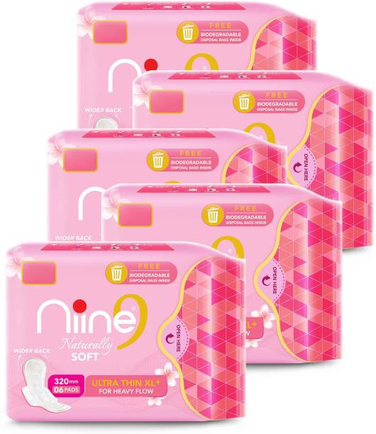 niine Naturally Soft Ultra Thin XL+, Sanitary Napkins with Free Biodegradable Disposal Bags Inside (Pack of 5), 30 Pads Sanitary Pad