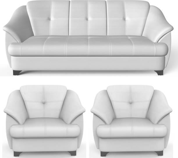 Rajgarhwala Furnitures Gayana Leatherette 3 + 1 + 1 White Sofa Set