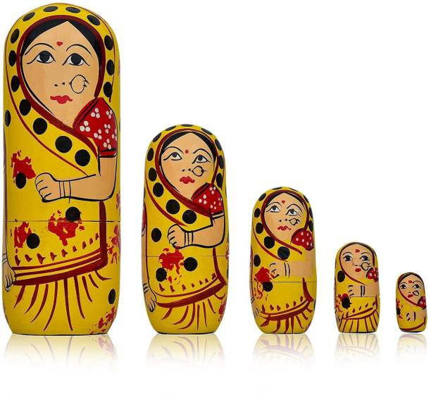 Fashion Bizz Wooden Handmade Crafted Yellow Color Doll Hand Painted - Nesting Doll - Wooden Decoration Gift Doll - Stacking Nested Wood Dolls for Kids - Set of 5 (Yellow)