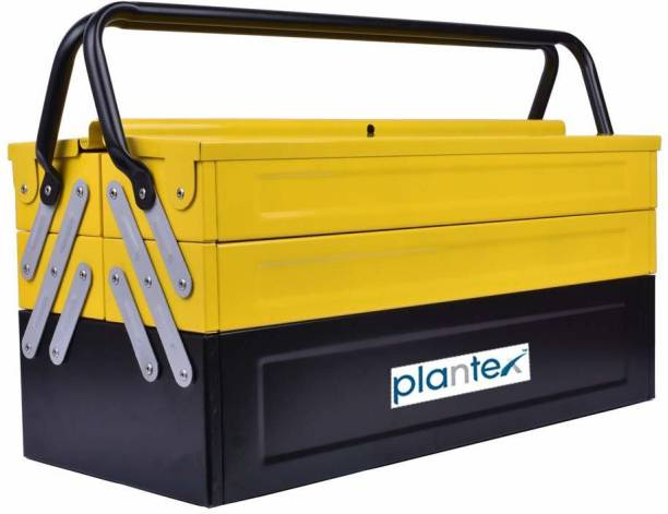 Plantex High Grade Metal Tool Box for Tools/Tool Kit Box for Home and Garage/Tool Box Without Tools-5 Compartment(Yellow & Black) Powder Coated Tool Box