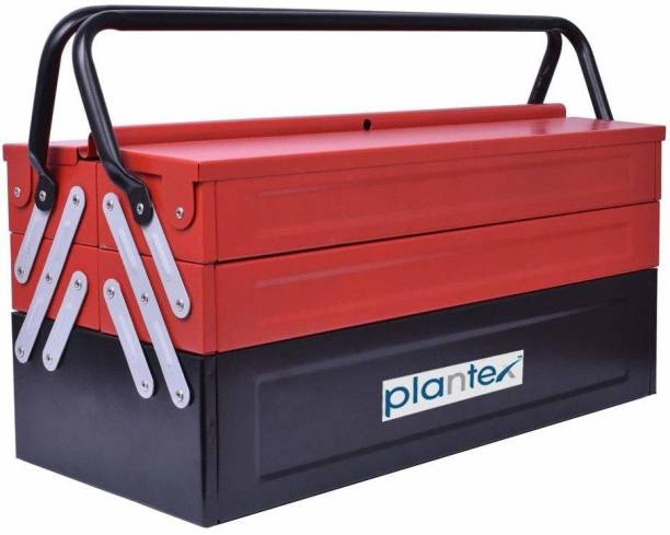 Plantex High Grade Metal Tool Box for Tools/Tool Kit Box for Home and Garage/Tool Box Without Tools-5 Compartment(Red & Black) Powder Coated Tool Box