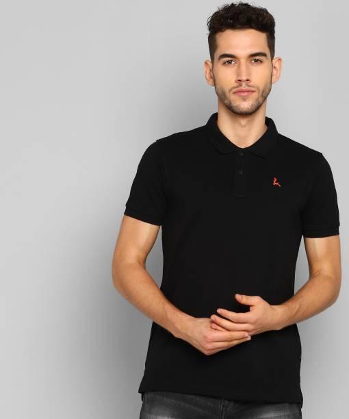 PARX Solid Men Polo Neck Black T-Shirt