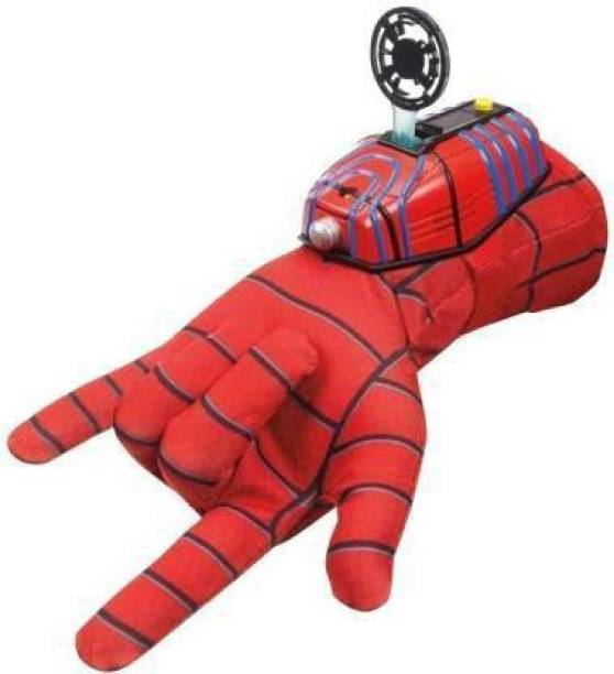 NIA Soft Fabric Spiderman Gloves With Disc Launcher (Red)