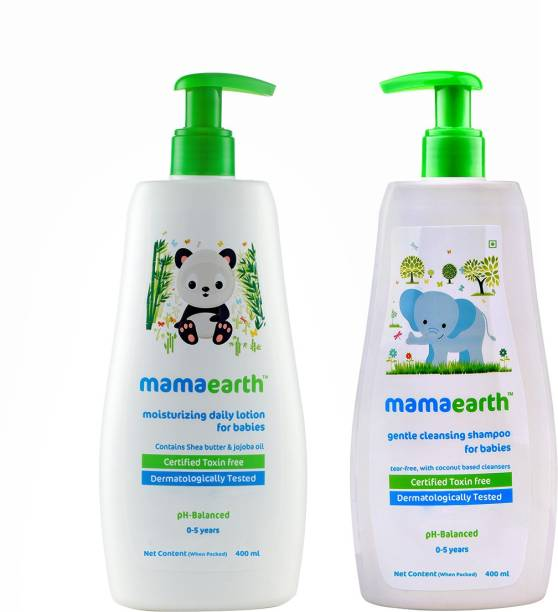 MamaEarth Moisturizing Daily Lotion For Babies 400 ml + Gentle Cleansing Shampoo For Babies 400 ml