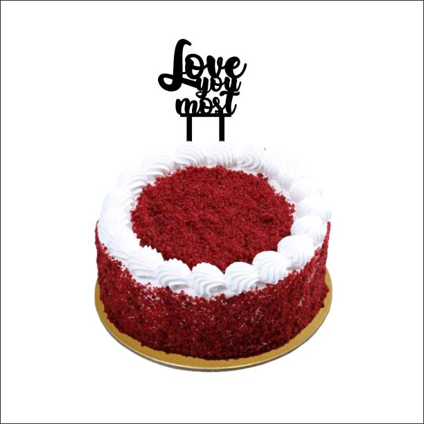 """Creatick Studio """"Love you most"""" Cake Topper / Cake Decoration Item / Special Cake Decoration for Kids Wife Husband Friend cousin Pack of 1 Cake Topper"""
