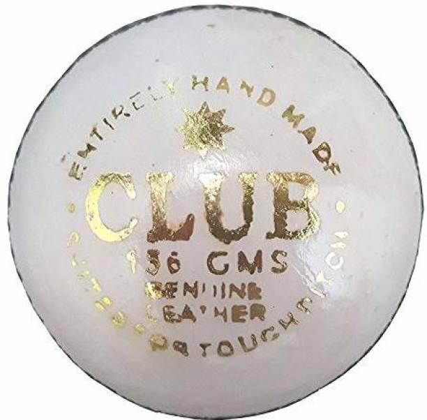 RIO PORT WhitClub_PLN Leather Club Cricket Ball, 155.9 g to 163 g (White) Baseball