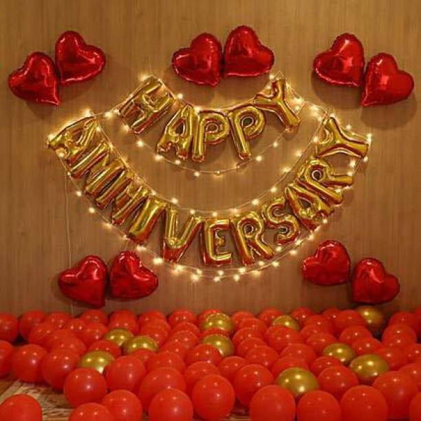 Devnidhi agri products Solid Happy Anniversary combo 83 piece set (16 letter of happy anniversary + 66 piece gold silver balloon + 1 air pump) Balloon