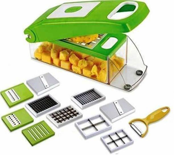 Queen kitchen 12 in 1 Multipurpose Vegetable and Fruit Chopper Cutter for Home Kitchen, Fruit Grater Slicer Dicer, Chipper, Peeler, Hand Chipser - All in One (Heavy Stainless Steel Blades) (Green) Vegetable & Fruit Chopper