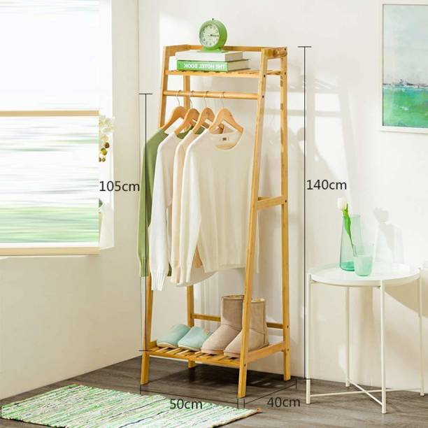 Naayaab Craft Bamboo Clothing Garment Rack, Coat Clothes Hanging Heavy Duty Rack, with Top Shelf and Shoe Clothing Storage Organizer Shelves Bamboo Coat and Umbrella Stand