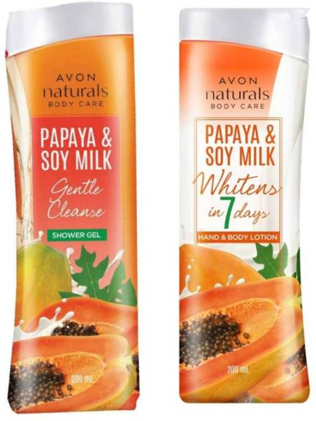 AVON Naturals Papaya & Soy Milk Hand & Body Lotion & Shower Gel 200 ml Each