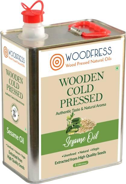 WOODFRESS Wooden Cold Pressed Sesame Oil 3L - Gingelly, Til ka Tel (Wood Pressed / Lakdi Ghani / Marachekku) Sesame Oil Tin