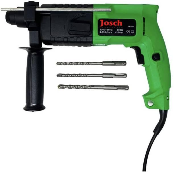 Josch 20mm, 800W, 9.5Nm Heavy Duty Drilling & Hammering in Concrete, Masonry, Wood, Steel JHD201 Rotary Hammer Drill